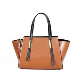 Crossbody Full Grain Satchel Bag Leder Braun Blockfarben Umhängetasche Tasche
