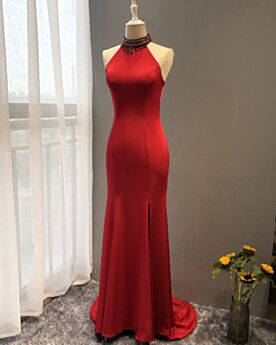 With Train Elegant With Crystal Mermaid Sleeveless Evening Dress Open Back Red Halter Charmeuse