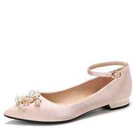 Planas Zapatos De Novia De Saten Color Champagne Ballerina Zapatos