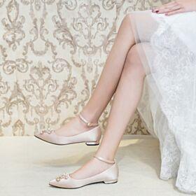 Champagne Trouwschoenen Ballerina Satijnen Enkelband Runtige Neus Platte Elegante