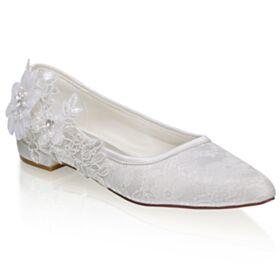 Spitz Zeh Spitzen Brautschuhe Ballerina Schuhe Flache Schönes