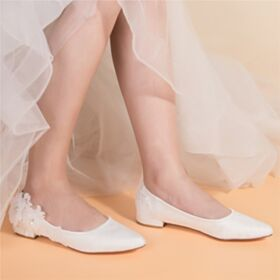 Color Marfil Zapatos Mujer Elegantes Zapatos Para Boda En Punta Fina De Encaje Planas