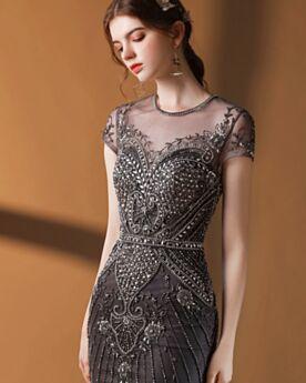 Konfirmationskleider Lange Schwarze Pailletten Meerjungfrau Perlen Glitzernden Abendkleider Transparentes Festliche Kleider