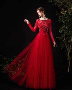 Empire Lange Ärmel Lange Tüll Schönes Abendkleider Trauzeugin Kleid Pailletten Rot