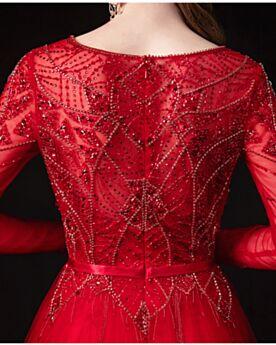 Rouge Sequin Longue Robe Soirée Col Bateau Princesse Élégant