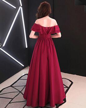 Short Sleeve Backless Evening Dresses Simple Off The Shoulder Elegant Ruffle Princess Bridesmaid Dress Special Occasion Dress Burgundy