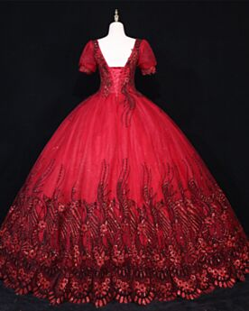 Quinceanera Dress Prom Dress Ball Gown Burgundy Square Neck Sequin Vintage Backless Beautiful Glitter Special Occasion Dress