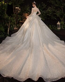 Bridals Wedding Dress Church Glitter Luxury Backless A Line Beading Sparkly Beautiful Sequin Rhinestones Long Long Sleeves