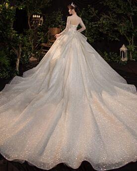 Manica Lunga Paillettes Argento Glitter Gioiello Luccicante Vestiti Da Sposa Schiena Scoperta Eleganti