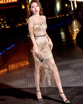 Fourreau Transparente Mi Longue Robe De Cocktail Paillette Demi Manche Dorée Scintillante Sexy Robe Gala De Noel Dos Nu