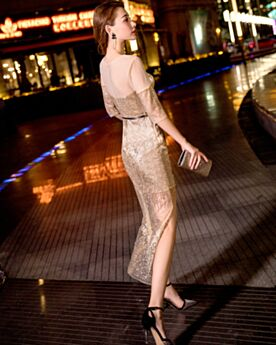Brillantes Por Debajo De La Rodilla Dorados Dividido Vestidos Para Año Nuevo Vestidos Cocktail Espalda Descubierta Vestidos De Gala Sexys De Lentejuelas