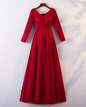 Long Sleeved Red Long Charming Lace Fit And Flare Appliques Evening Dresses Bridesmaid Dress