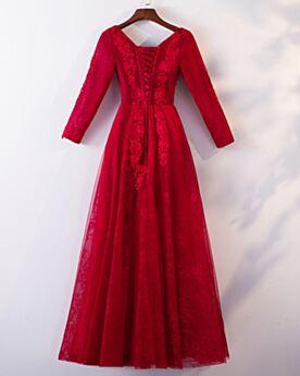 Manche Longue Robe Demoiselle D honneur Dentelle Évasée Robes De Soirée Rouge Élégant