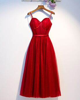 Bridesmaid Dress Tea Length Dress For Wedding Cute Cocktail Dress Backless Spaghetti Strap Sleeveless