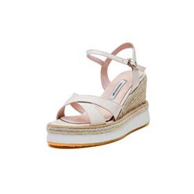 Weiß Plateau Comfort Geflochtene Keilabsatz Espadrilles Sandaletten Damen Matt 8 cm High Heels
