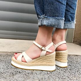 Comfort Wedges Espadrilles White Platform Leather 2019 High Heels Sandals For Women