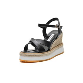 Leren High Heels Zwart Wedges Comfort Sandalen Espadrilles