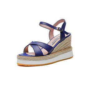 3 inch High Heel Espadrilles Wedges Platform Comfort Blue Leather Sandals