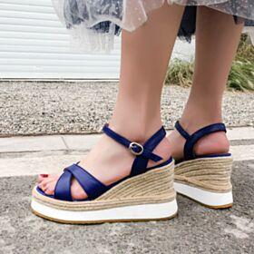 3 inch High Heel Espadrilles Wedges Platform Comfort Blue Leather Sandals