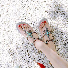 Sandali Con Strass Basse Bohemien Gioiello Beachwear Con Frange