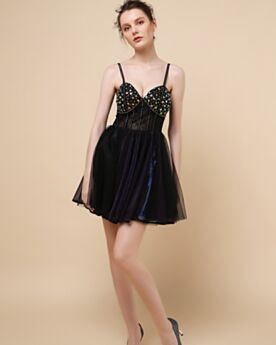 Black Sleeveless 2019 Spaghetti Strap Fit And Flare Cocktail Dresses Sequin Short Semi Formal Dresses Party Dress