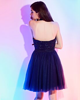 Sleeveless Lace Vintage Tulle Halter Backless Cute Navy Blue Bridesmaid Dress Short Low Cut Juniors