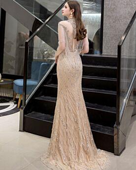 Ärmellos Lange Glitzernden Abendkleid Galakleid Hochgeschlossene Bleistift Elegante Transparentes Kleider Für Festliche Pailletten