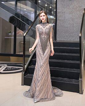 Etui Schönes Abendkleider Transparentes Festliche Kleider Strasssteine Pailletten Ärmellos Grau Lange Verlobungskleid Luxus Hochgeschlossene Glitzernden