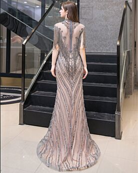 Formal Evening Dress Elegant Transparent Luxury With Train With Crystal High Neck Fringe Gray Sheath Dress For Special Occasion Sparkly Sequin