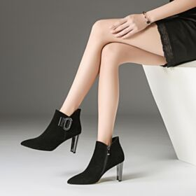 With Ankle Strap Suede Black Leather Thick Heel Comfortable High Heels Booties Fur Lined