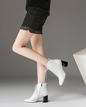 Weiß Blockabsatz Schnürens Ankle Boots Mit Absatz Klassisch Runde Zeh Leder