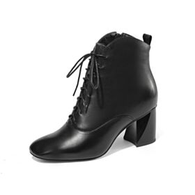 Round Toe Leather Black Thick Heel Block Heel 6 cm Heel Booties Lace Up Classic