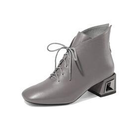 5 cm Talons Fourrées Talon Carrés Confort Grise Classique Chaussures Travail Chaussures Oxford