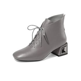 Comfort Block Heel Gray 5 cm Low Heel Classic Leather Winter