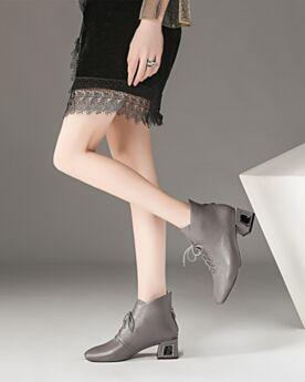 5 cm Tacones Para Trabajo Zapatos Oxford Punta Redonda Gris Clasico Cordones Forradas De Pelo