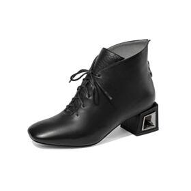 Petit Talon Talons Carrés Chaussures Oxford Classique D hiver Noir Chaussures Travail Bout Rond Lacets Confort Cuir