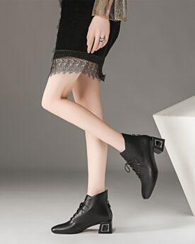 5 cm Tacco Medio Scarpe Oxford Donna Stringate Nere Classici Ufficio Comode Tacco Largo Tacco Grosso