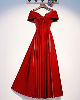 Off Shoulder Kurzarm Abendkleider Lange Schlichte Brautjungfernkleider