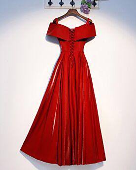 Simpele Rode Korte Mouw Bruidsmeisjes Jurk Off Shoulder Feestjurken Lange A Lijn Avondjurken