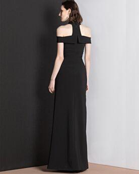 Robe Invite De Mariage Noir Robe Soirée Fendue Originale Licou Longue