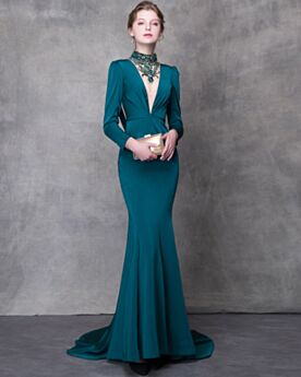 Backless Gala Dresses Beautiful Mermaid Gorgeous Formal Dresses Sheath Charmeuse Dark Green Long Sleeve Plunge With Train
