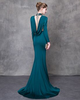 Backless Gala Dresses Beautiful Mermaid Gorgeous Formal Dresses Sheath Charmeuse Dark Green Long Sleeve Plunge With Train