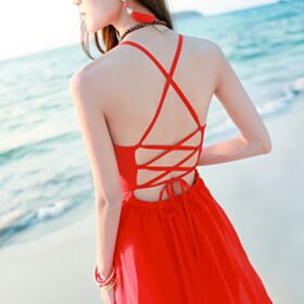 Sexy Long Summer Spaghetti Strap Dress Beachwear Sleeveless Open Back Empire Slit Chiffon