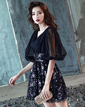Fit And Flare Club Dresses Sequin Black Spring Cocktail Dresses Sexy Short Sparkly