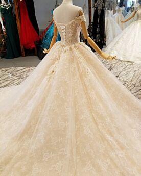 Glitter Luccicante Scollo A Barca Eleganti Principessa Abiti Da Sposa Schiena Scoperta Pizzo Boho