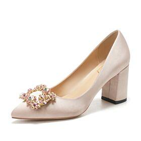 5 cm Heel Champagne Bruidsmeisjes Schoenen Pumps Platte Bruidsschoenen Runtige Neus Steentjes