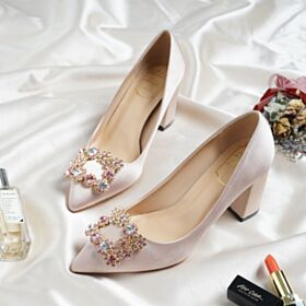 Bridesmaid Shoes Block Heel Bridal Shoes Pumps Shoes 5 cm Kitten Heel Champagne Flat