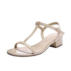 Sandalen 3 cm Hakken Blokhakken Leren Huidskleur Comfort