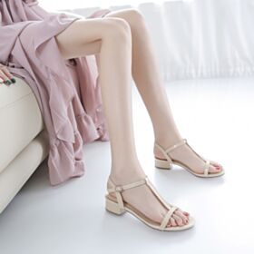 1 inch Kitten Heels Leather Patent Sandals For Women Nude Comfortable Block Heel
