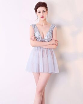 Cocktail Dress Short Lavender Open Back Crystal See Through Plunge Sexy Sequin Club Dress Fit And Flare
